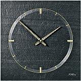 AMS 9516 Schiefer-Wanduhr aus Naturstein; Unikat mit goldenen Zeigern; Quarzuhr mit Airbrush Design; seidenmatt; sehr stabil und schlagresistent