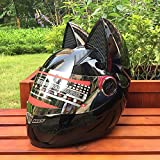 JIE Katze Ohr Band Winkel Helm Motorrad Helm Vollgesichts Helm,Schwarz,M