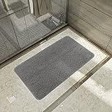 Rutschfeste Badematte Mikrofaser Badteppich Badezimmerteppich Teppich Matte für Badezimmer 50x80cm Grau