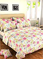 Bombay Dyeing Element 120 TC Polycotton Double Bedsheet with 2 Pillow Covers - Abstract, Pink