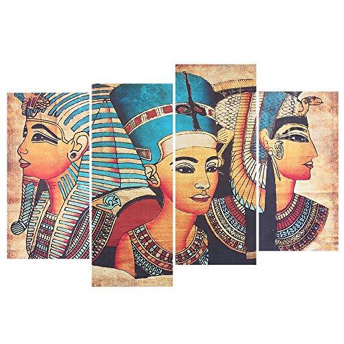 Impresionante pintura de pared de patrón de pintura egipcia, lienzo de alta calidad con patrón HD, decoración interior perfecta para su hogar! 4 paneles para formar una imagen completa.Nota: 1. Nuestro producto no está enmarcado. 2. 4 paneles forman ...