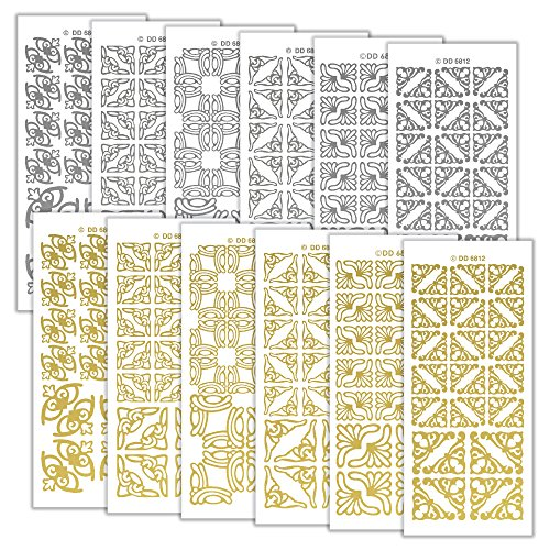 Peel Off Stickers Abziehen Aufkleber kleinen Ecken 1021, Aufkleber, Mehrfarbig, 23x 10x 1cm -