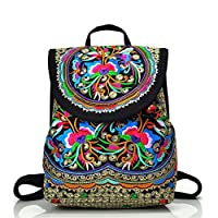 Retro Classic Style Mini Flower Backpack, Feskin Fashion Vintage Casual Floral Daypacks Solid Shoulder School Bag for Women and Girl (Zamioculcas zamiifolia)