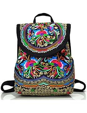 Mode Damen Rucksack mit Blumen, Feskin Mädchen Stickerei Daypack Backpack Canvas Vintage Schulrucksack