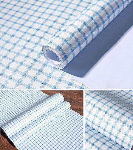 Selbstklebendes Vinyl rot gingham Kontakt Papier Dekorative Schubladen Regal rutschsicher für Schränke Schublade Dresser (Blaue, 61cm von 9.8Füße) (Gingham Plaid Blau)