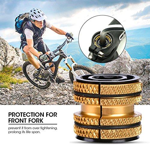 Tbest Ahead Steuersatz Fahrrad Headset Stecker 28,6, Aluminiumlegierung Fahrrad Steuersatz Expander Kompressor Stecker Erweiterungsstecker für 28,6mm Carbon Gabel Teile(Gold)