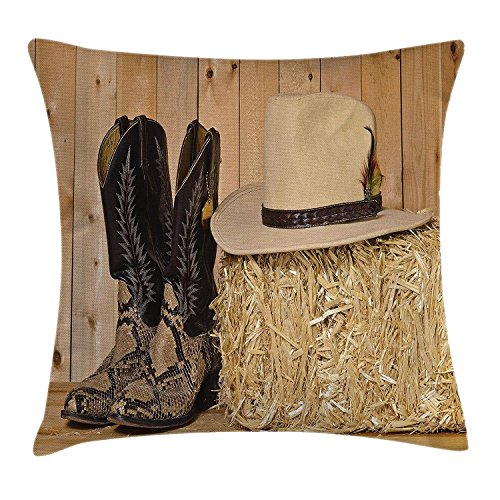 KLYDH Western Decor Throw Pillow Cushion Cover, Snake Skin Cowboy Boots Timber Planks in Barn with Hay Old West Austin Texas, Decorative Square Accent Pillow Case, 18 X 18 Inches, Cream Brown -