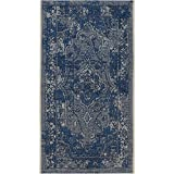 "Light Blue / Blue , 2' x 3'6\ : Safavieh Palazzo Collection PAL128-7812 Light Blue and Blue Area Rug (2' x 3'6"")"