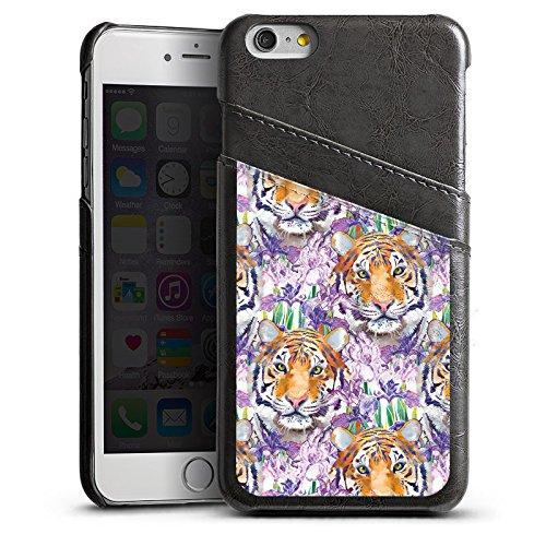 Apple iPhone 5s Housse Étui Protection Coque Tigre Chat Motif Étui en cuir gris