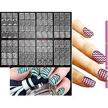 Nail Art etiqueta Plantillas 8hojas Set Diva 1–8uñas pantalla/Pegatinas