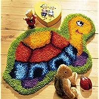 8 Modell Schildkröte Knüpfteppich Formteppich für Kinder und Erwachsene zum Selber Knüpfen Teppich Latch Hook Kit child Rug Animal 007 50 by 40 cm
