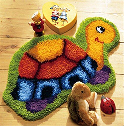 Beyond Your Thoughts Schildkröte Knüpfteppich Formteppich für Kinder und Erwachsene zum Selber Knüpfen Teppich Latch Hook Kit Child Rug Animal 019 50 by 40 cm -
