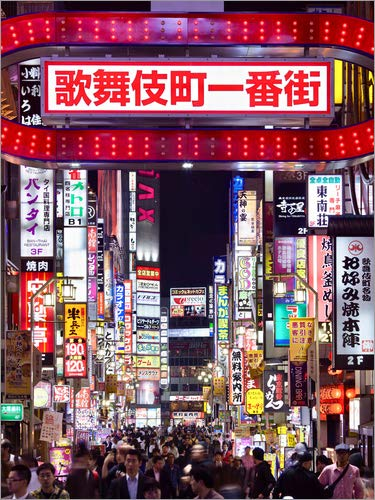 Lienzo 60 x 80 cm: Colorful neon signs in Shinjuku