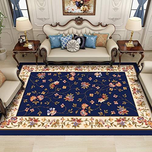 Moderne zeitgenössische, Luxus Designer Wohnzimmer Schlafzimmer Nachtteppich,Blau, klein geblümt, 140 * 200cm -