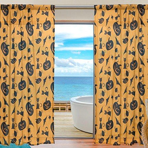 JSTEL INGBAGS Eleganter Voile-Vorhang mit, 2Einsätze mit Print Tüll Polyester für Tür Fenster Wohnzimmer Deko 55x 80cm, 2Stück, Polyester, mehrfarbig, 55 x 78 - 78-zoll-gardinenstange