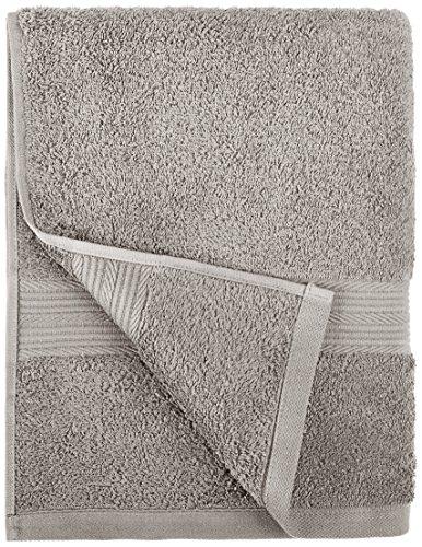 AmazonBasics Fade-Resistant Cotton 6-Piece Towel Set, Grey