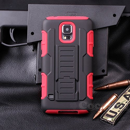 Galaxy S5 Mini Hülle, Cocomii Robot Armor NEW [Heavy Duty] Premium Belt Clip Holster Kickstand Shockproof Hard Bumper Shell [Military Defender] Full Body Dual Layer Rugged Cover Case Schutzhülle Samsung G800 (Red) (Samsung S5 Otterbox-holster Case)