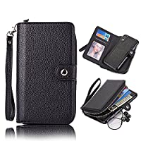 iPhone X Wallet Case,Vandot iPhone 10 [Large Capacity] Purse Case PU Leather Zipper Case with Money Pocket Credit Card Slots and Magnetic Detachable Slim Cover Case for iPhone X / iPhone 10 5.8 inch-Black
