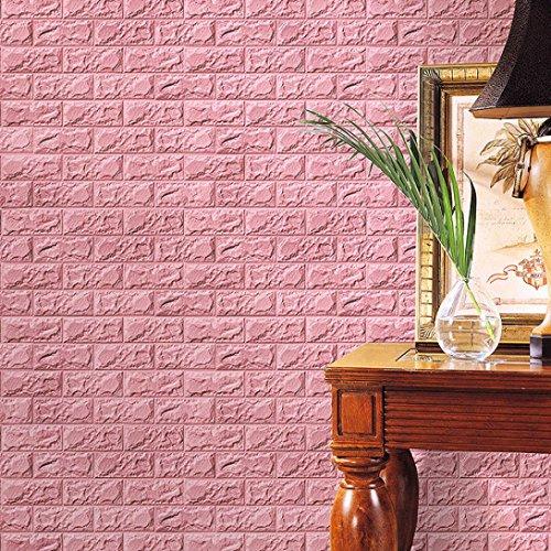 Binggong Neue PE Foam 3D Tapete DIY Wandaufkleber Wanddekor Geprägte Ziegelstein Wasserdicht Wandaufkleber Hintergrund für Schlafzimmer (Rosa, 60 X 30 X 0.8cm)