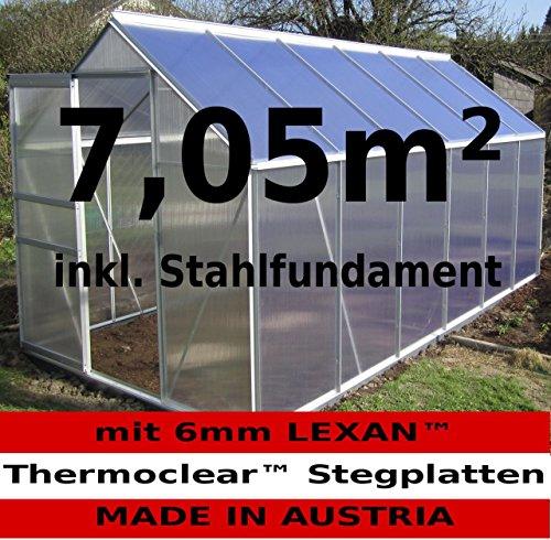 7,05m² ALU Aluminium Gewächshaus Glashaus Tomatenhaus, 6mm Hohlkammerstegplatten – (Platten MADE IN AUSTRIA/EU) mit Stahlfundament und 2 Fenster von AS-S