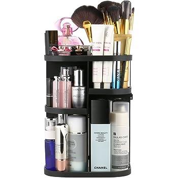 Jerrybox Schmink Aufbewahrung 360 Grad Drehbarer Make Up Organizer, Passend für Kosmetikpinsel und Lippenstifte Quadratisch Schwarz