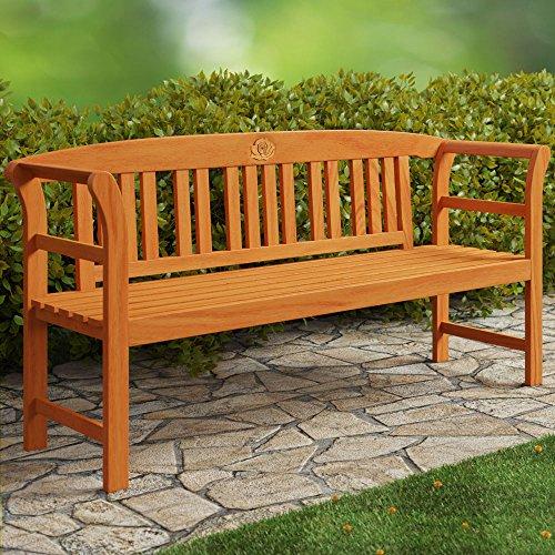 Deuba Gartenbank Rose 3-Sitzer | FSC-zertifiziertes Eukalyptusholz | 150cm | Bank Holzbank Sitzbank...