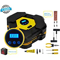 Voroly Heavy Duty Automatically Shut Off Car Air Compressor Tyre Inflators Pump Digital with Puncture Repair Kit and…