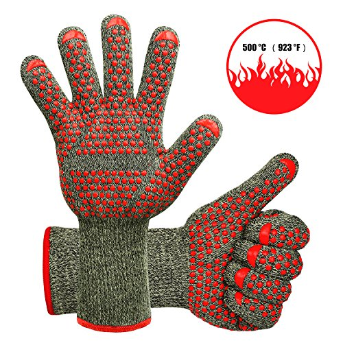MFTEK Grillhandschuhe BBQ Handschuhe Ofenhandschuhe 2er Pack Hitzebeständig 500 Grad 932℉ Wasserdichte Schutzhandschuhe zum Grill Grillieren Kochherd Küche