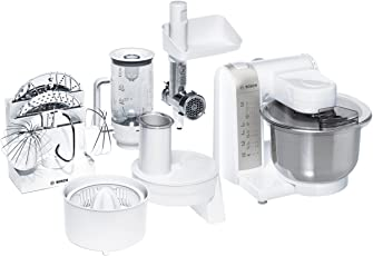 Bosch MUM4780–Robot da cucina, ciotola in acciaio inox, 600W, colore: bianco/grigio metallizzato