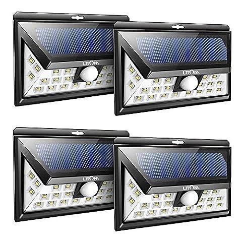 Litom Solarleuchten, 24 LED Wandleuchte Außen, Solar Betriebene Außenleuchte, Wasserdichte 3 Modi Sicherheit Licht für Garten, Zaun 4