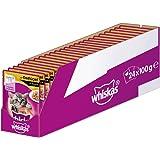 Whiskas Katzen-/Nassfutter Junior <1 mit Geflügel in Sauce, 24 Portionsbeutel (24 x 100g)