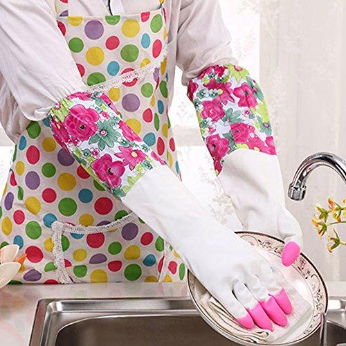 Handschuhe Aus Synthetischem Gummi (dulee Plus Plüsch Warm Waschen Handschuhe Wäschekorb Haushalt Reinigung Blume Ärmel Gummi Handschuhe wasserdicht Style 2 Pink)