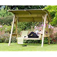 Alicante 3 Seat Wooden Garden Swing Chair with Canopy - Hammock Bench Furniture Lounger - 10  sc 1 st  Amazon UK & Amazon.co.uk: Canopy Swings: Garden u0026 Outdoors
