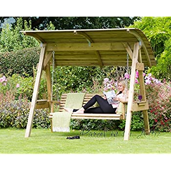 Alicante 3 Seat Wooden Garden Swing Chair with Canopy - Hammock Bench Furniture Lounger - 10  sc 1 st  Amazon UK & Alicante 3 Seat Wooden Garden Swing Chair with Canopy - Hammock ...