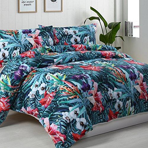 Dreamaker 100% Baumwolle Bettwäsche Quilt Bettbezug Set w/Kissenbezüge, 100 % Baumwolle, Zuri, 200 x 200cm