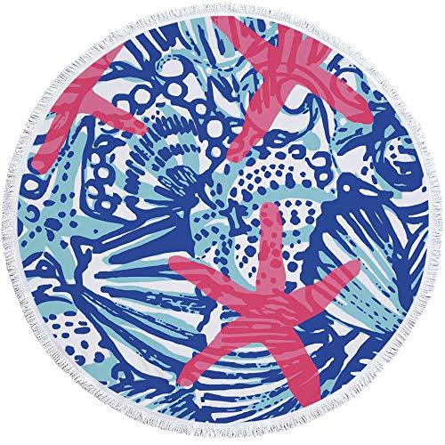 Rund Strandtuch,Cartoon Blau Algen Rosa Seashell Microfaser-Qualität Mandala Mit Baumwolle Quasten, Fransen Fransen, Neuheit Anlage Drucken 60-Zoll Großen Sand Nachweis Schnell Trocken Liegen Ou