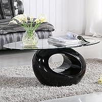 UEnjoy Glass Coffee Table Black Gloss Base Oval Design Living Room Furniture
