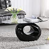 UEnjoy Glass Coffee Table Black Gloss Base Oval Design Living Room Furniture