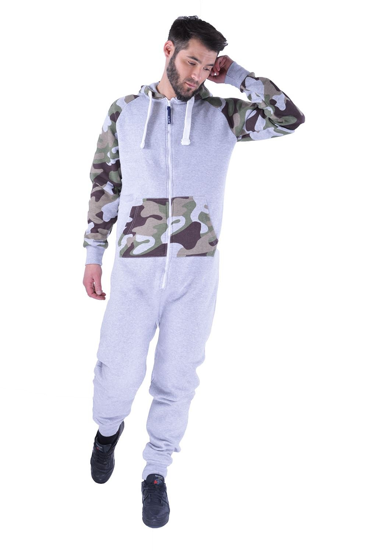 Mens Camo Camouflage Onesie Hooded Zip Playsuit All in One Piece Jumpsuit Adult Size Aztec Print Hoodie Mymixtrendz