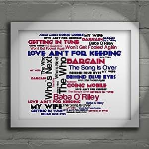 The Who–Who's Next–signé et numérotée Édition limitée Typographie sans cadre 25,4x 20,3cm Album murale d'art–Paroles de chanson Mini Poster