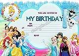 Disney Einladungen zur Geburtstagsparty, Frozen Elsa & Anna Design, 10 Stück inkl. Umschlägen, 10