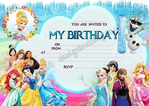 ur Geburtstagsparty, Frozen Elsa & Anna Design, 10 Stück inkl. Umschlägen, 10 ()