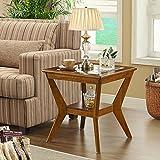 MEILING Tavolino da salotto Divano in legno massello Tavolino da caffè in vetro temperato Scrivania Tavolino quadrato americano Un angolo laterale a pochi A pochi ( Colore : Wood )