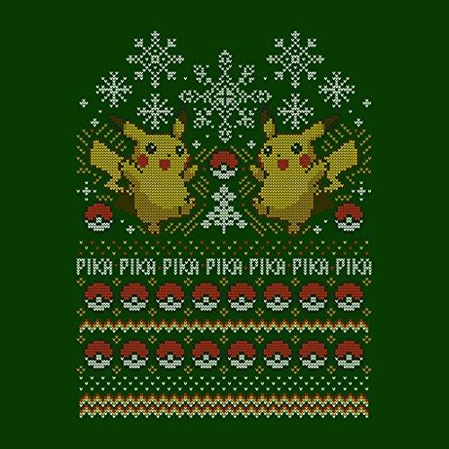 Pokemon Pikachu Christmas Knit Pattern Women's Sweatshirt Bottle Green