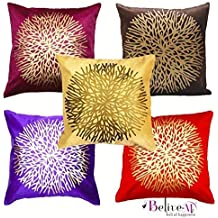 Belive-Me Velvet Printed Cushion Covers, 16x16-inch (Multicolour) -Set of 5