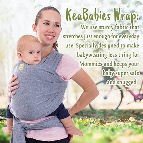 Baby Carrier von keababies – All-in-1 Dehnbar Baby Packungen – Baby Sling – Infant Carrier – Babys Wickeln – Hände frei Babys Carrier Packungen | Große Baby Dusche Geschenk (grau)