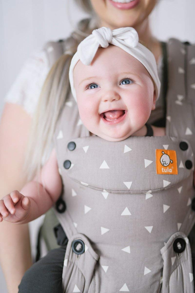 Baby Tula Explore Baby Carrier 3.2 - 20.4 kg, Adjustable Newborn to Toddler Carrier, Multiple Ergonomic Positions, Front/Back Carry, Easy-to-Use, Lightweight - Sleepy Dust, Grey with White Triangles  TULA