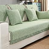 HM&DX Baumwolle Knitted Sofa Abdeckung Sofa Überwurf Multi-Size Anti-rutsch Schmutzresistent Einfarbig Sofahusse Für sektionaltore Couch-Grün 70x70cm(28x28inch)