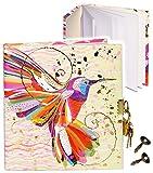 alles-meine.de GmbH Notizbuch / Tagebuch / Poesiealbum - mit Schloss -  Vogel Kolibri - Design Turnowsky  - 2 Schlüssel - blanko weiß - 3-D Effekt Relief & Glanz Druck - Dickes..