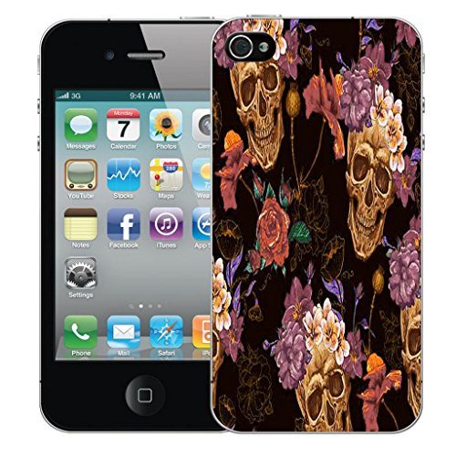 Nouveau iPhone 5s clip on Dur Coque couverture case cover Pare-chocs - snake love Motif avec Stylet skull flower